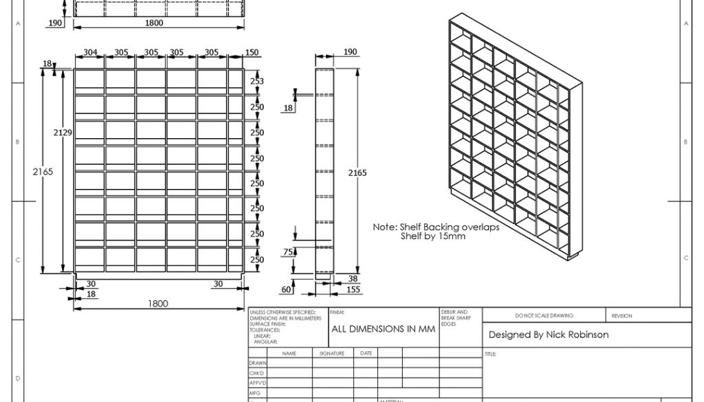 DVD Shelves Technical Drawing