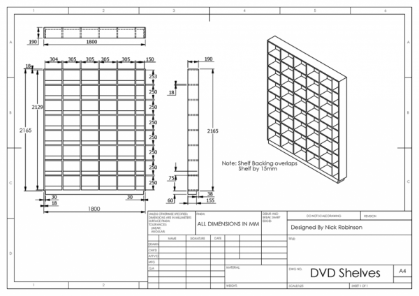 DVD Shelves Technical Drawing
